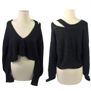 NEW Wild Fable Womens Large Black Crop Top Fuzzy
